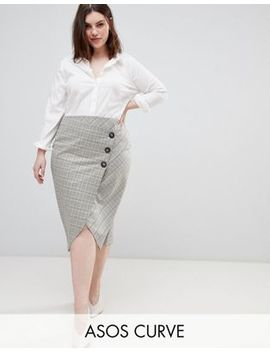 Asos Design Curve Tailored Midi Skirt In Check With Button Wrap Detail by Asos Design