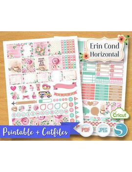 Sweet Pink Spring Floral Flower Valentine Pastel Color Planner Stickers Digital Planner Kit Set Planner Erin Condren Horizontal Printable by Etsy