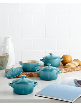 Stoneware Set Of 4 Petite Casseroles With Cookbook by Le Creuset