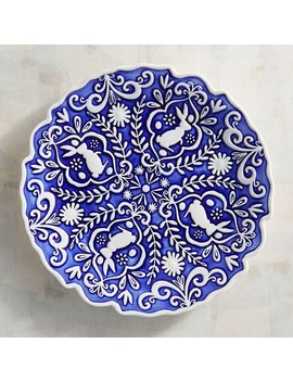 Blue & White Bunny Embossed Salad Plate by Pier1 Imports