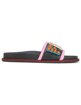 Studded Logo Leather Slides by Fendi