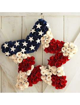 Patriotic Wood Curl Star Wreath by Pier1 Imports