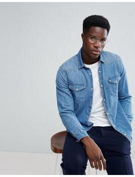 Stradivarius Denim Shirt In Light Blue by Stradivarius