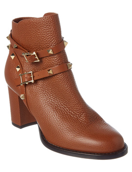Valentino Rockstud Leather Ankle Boot by Valentino