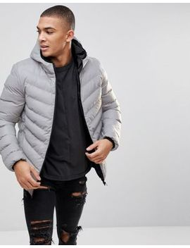 Burton Menswear Quilted Reflective Jacket In Silver by Burton Menswear London