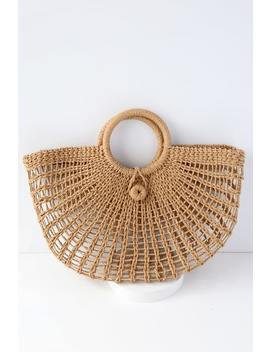 Market Marvel Tan Woven Tote by Lulus