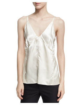 Deconstructed Sateen Slip Top, White by Helmut Lang