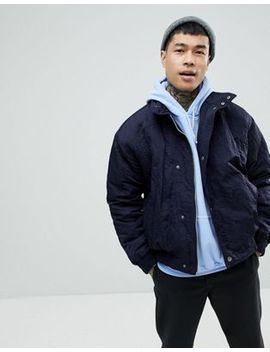 Asos Padded Track Jacket In Navy by Asos