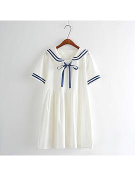 Summer New Women Japanese Sen Female Line Navy Wind Bow College Wind Sweet Short Sleeved Dress For Girls by R&Bdropship Store