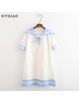 Kyqiao Kawaii Dress For Mori Girls Summer Japanese Style Cute Short Sleeve Sailor Collar White Blue Bowknot One Piece Dress by Ethnic Clothing Store