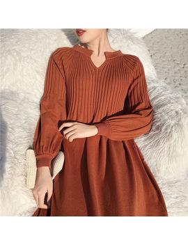 Beautiful Knitted A Line Dress Kawaii High Waist Vintage Dress Midi Autumn Robe Femme Vestido Mujer Vestiti by Designer Club Inc