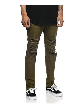 Rustic Dime Krueger Olive Slashed Jeans by Rustic Dime