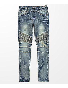 Crysp Denim Basket Woven Blue Wash Jeans by Crysp Denim