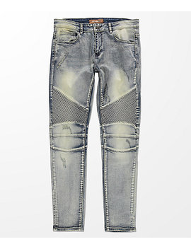 Crysp Denim Skywalker Biker Stone Wash Jeans by Crysp Denim