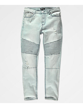 Elwood Moto Indigo Destroyed Denim Jeans by Love, Fire