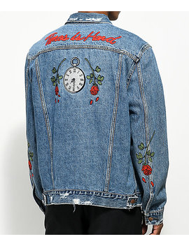 Hstry Roses Light Blue Denim Jacket by Hstry