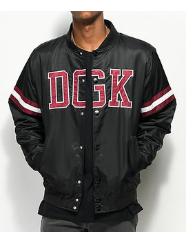 Dgk Champ Black & Burgundy Bomber Jacket by Dgk