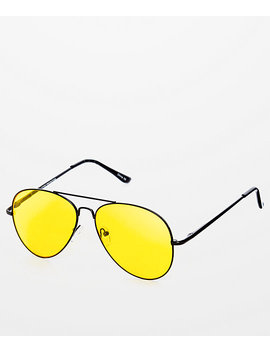 Yellow & Black Aviator Sunglasses by Blue Gem Sunglasses, Inc