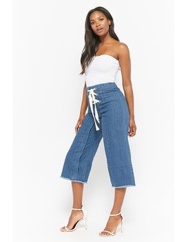 Frayed Denim Culottes by Forever 21