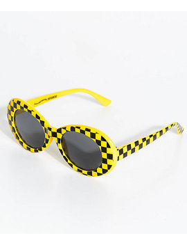 Petals & Peacocks Nevermind Yellow Checkerboard Sunglasses by Petals And Peacocks