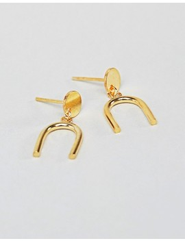 Asos Design Gold Plated Sterling Geo Tube Drop Earrings by Asos Design