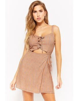 Striped Lace Up Wrap Front Dress by Forever 21