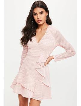 Pink Mesh Plunge Skater Dress by Missguided