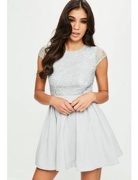 Grey Lace Scoop Back High Neck Skater Dress by Missguided