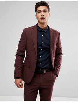 Moss London Skinny Suit In Burgundy by Asos Brand