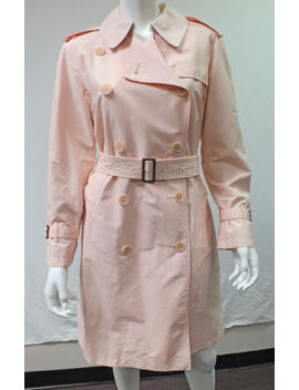 Burberry London Baby Pink Chartruese Double Breasted Trench Coat Jacket Us 8 by Burberry London