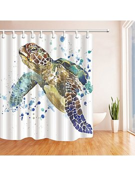 Kotom Sea Animal Lover Watercolor Brick Turtle Shower Curtain 69 X70 Inches Mildew Resistant Polyester Fabric Bathroom Fantastic Decorations Bath Curtains Hooks Included (Multi13) by Kotom
