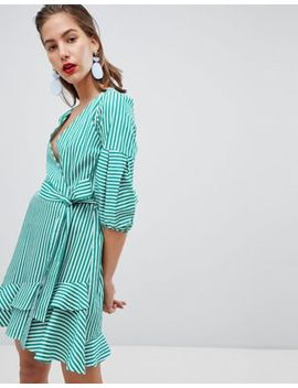 River Island Tie Waist Wrap Front Ruffle Mini Dress by River Island