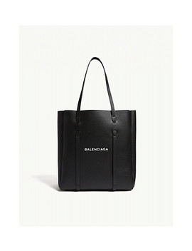 Everyday Logo Small Grained Leather Tote by Balenciaga
