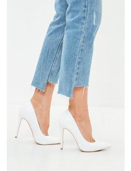 White Faux Leather Pointed Pumps by Missguided