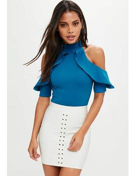 Tall Blue Frill Cold Shoulder Bodysuit by Missguided