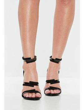 Black Clear Strap Barely There Heels by Missguided