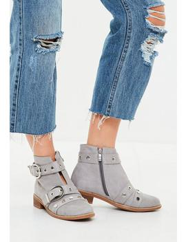 Gray Buckle And Stud Ankle Boots by Missguided