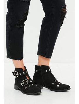 Black Buckle Stud Ankle Boots by Missguided