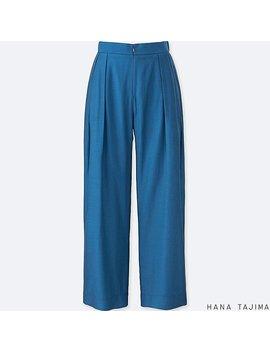 Women Tencel Tuck Wide Pants by Uniqlo