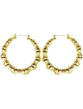 "Old School Style 2.5"" Bamboo Hoops Hoop Earrings, In Gold Tone by Girl Props(R)"