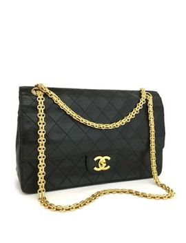 Vintage Chanel Double Flap 26 Quilted Cc Logo Lambskin Chain Shoulder Bag /E447 by Chanel