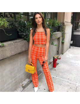 Two Piece Set Tracksuit Plaid Sexy Sleeveless Women Sets Cropped Top Survetement by Unbranded