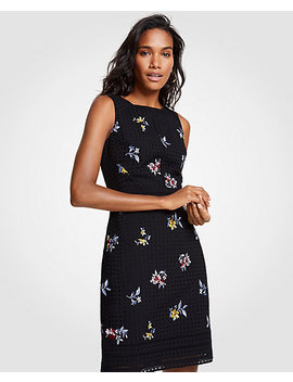 Embroidered Floral Eyelet Sheath Dress by Ann Taylor