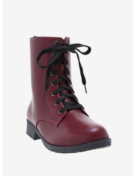Burgundy Combat Boots by Hot Topic