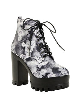 Black &Amp; White Floral Platform Booties by Hot Topic