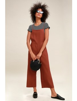 Norfolk Rust Red Backless Midi Jumpsuit by Moon River
