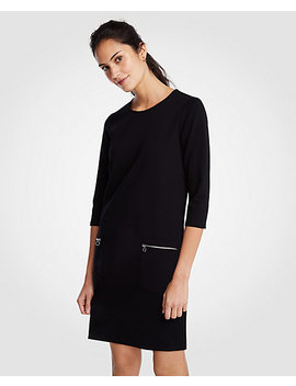 Petite Zip Pocket Ponte Shift Dress by Ann Taylor