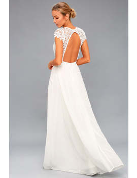 Florianna White Backless Lace Maxi Dress by Lulus