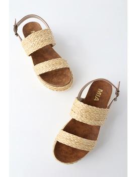 Ava Natural Rafia Flatform Sandals by Mia