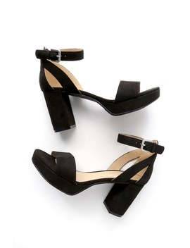 Go On Black Suede Platform Ankle Strap Heels by Cl By Laundry